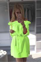 Vestido corto en color liso con hombros descubiertos 20094-3