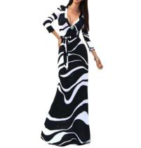 Neues Schwarzes und Weißes Kleid mit tiefem V-Ausschnitt und langem Partykleid 17265-3