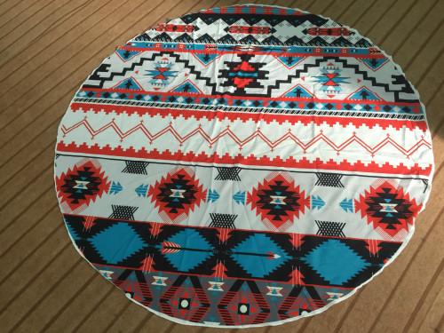 Geometric Print Round Beach Towel 21434-4