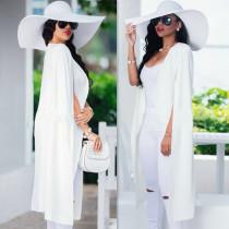Blazer Longo Branco Ocasional Plus Size 23614-1