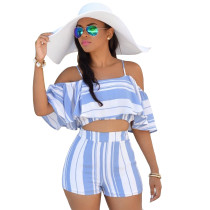 Sexy Blue and White Stripped Crop Top и шорты 21942