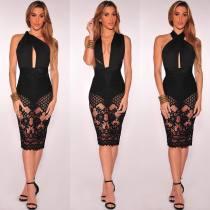 Multi-Way Black Lace Party Dress  24014