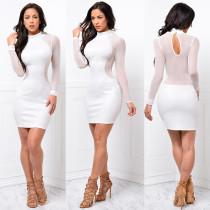 Long Sleeve White Bodycon Dress 20558-2
