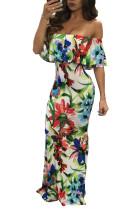 Slash Shoulder Floral Maxi Dress 21386