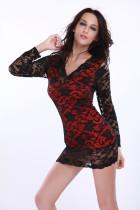 Mini vestido elegante con encaje rojo 11344