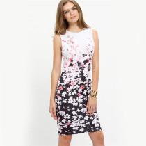 Vestido delgado sin mangas con flor blanca y negra 23684