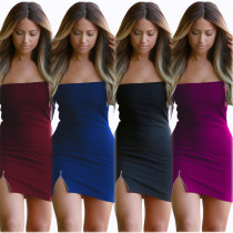Sexy Strapless Pure Color Short Bodycon Dress 18393-2