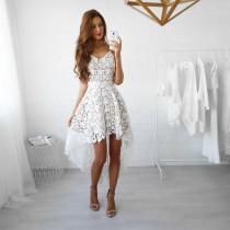 Front Short Back Long White Lace Straps Skater Dress 24021-1