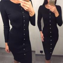 Sırf Siyah Uzun Kollu Kazak Elbise 22722-6