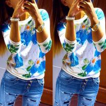 Hübsches, modisches Sky Blue-Blumendruck-O-Neck-Shirt mit V-Ausschnitt 17594-2