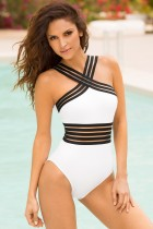 White and Black One-Piece Halter Swimwear 21343