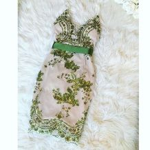 Sexy Green Strappy Dress with Sequins Details 22102-3