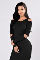Robe mi-longue noire sexy avec manches 22509-1