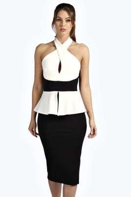 Dignified White and Black Round Neck Peplum Dress 18206
