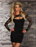 Sexy schwarze lange Ärmel Spitze Mesh Party Clubwear 13085