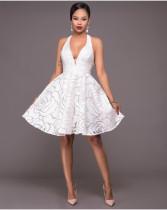 Halter Plung Sexy White Swing Dress 23921