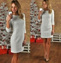 Brief Grey Round Neck 3/4 Sleeve Straigh Dress 19021-2