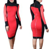 Black and Red Color Block Long Sleeve High Neck Bodycon Dress 19901