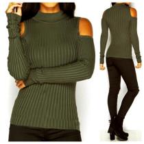 Ausschnitt Schulter Sexy Pure Basic Sweater 23090-3