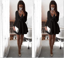 Sexy V-Neck Short Skater Dress 23477-3
