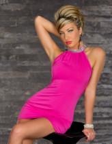 Pullu Kenar Yaka Mini Elbise 11606