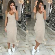 Stylish U-Ausschnitt Knakis ärmelloses Kleid 20756-4