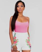 Pantalones cortos de color rosa puros sin mangas y estampado de flores blancos 20677