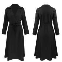 V Yaka Ofis Tasarımı Uzun Patenci Elbise Yaka 23966-1