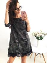 Long Camou Shirts with Lace Hem 23118