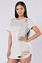 Camisas atractivas de corte alto-bajo 23112-1
