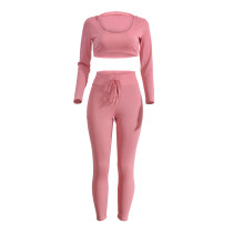 Sweety Pink Open Waist Long Sleeve Two Piece Playsuits 22292