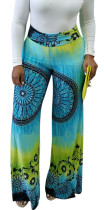 Pantalón Strech de cintura alta con estampado indio 22163-2