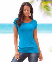 Düz Renk Cap Sleeve Yaz Bluz 20258-2