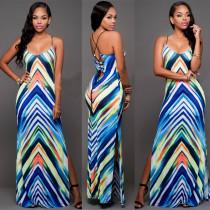Wavy Print Strapy Maxi Dress 21452