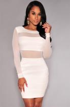Vestido ajustado con malla en la parte posterior y manga larga blanca 16295-2