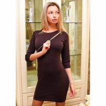 Mini vestido liso con manga 1 / 2 con decoración de cremallera 21867-1