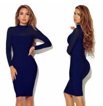 Sexy Mesh Patchwork Pure Schlankes Kleid 22977-5