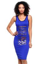 Vestido camisero largo estampado de camisas deportivas azules 21755-2