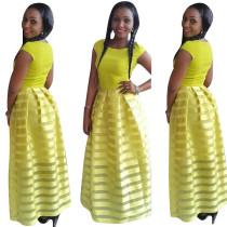 Fashion Round Neck Yellow Tutu Skater Dress 21598