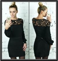 Vestito aderente nero classico con maniche lunghe scampanate 18605-1