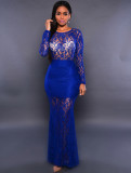 Vestido de noche de sirena sexy de manga larga con encaje azul 20435-2