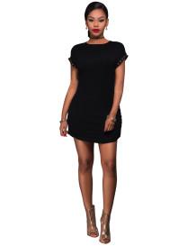 Sexy schwarzes Haken-T-Shirt-Kleid mit Halskette 23817