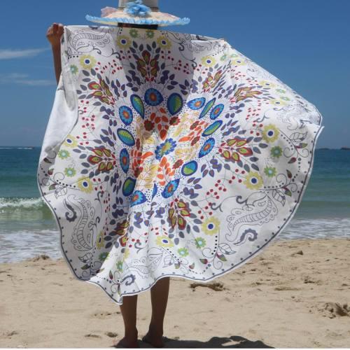 Hawaii White Printed Round Beach Towel 21588-1