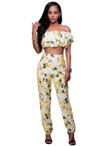 Sexy Flower Yellow Slash Crop Top and Matching Pants 22158
