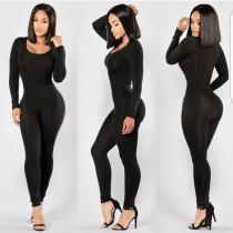 Combinaisons 22451 Pure Black U Neck à manches longues pour femmes