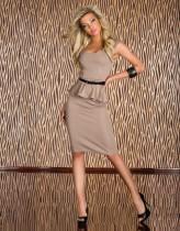 Damen Cocktailrock Knielanges Schößchenkleid 12854-3