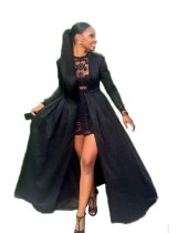 Vestido de noche de manga larga negro 21316