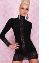 Vestido De Encaje Delantero Negro 10413