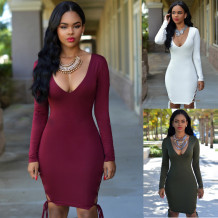 Ulta Sexy Deep V Neck Pure Color Bodycon Dress 18598
