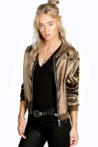 Gold Satin Jackets with Zipper Decoration 22630-2
